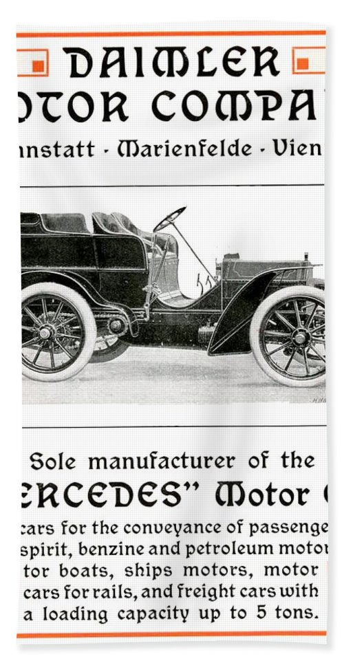 1904 Hand Towel featuring the digital art 1904 - Daimler Motor Company Mercedes Advertisement - Color by John Madison