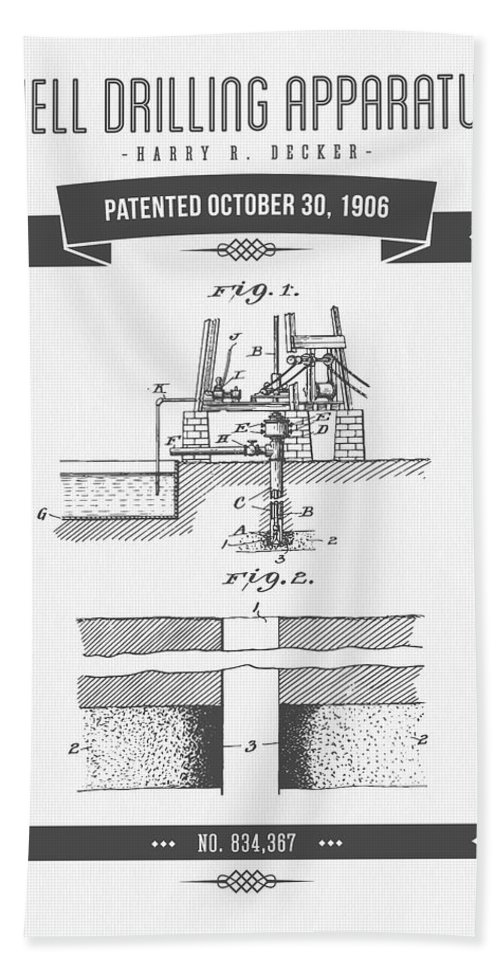 Oil Bath Sheet featuring the digital art 1906 Well Drilling Apparatus Patent Drawing - Retro Gray by Aged Pixel