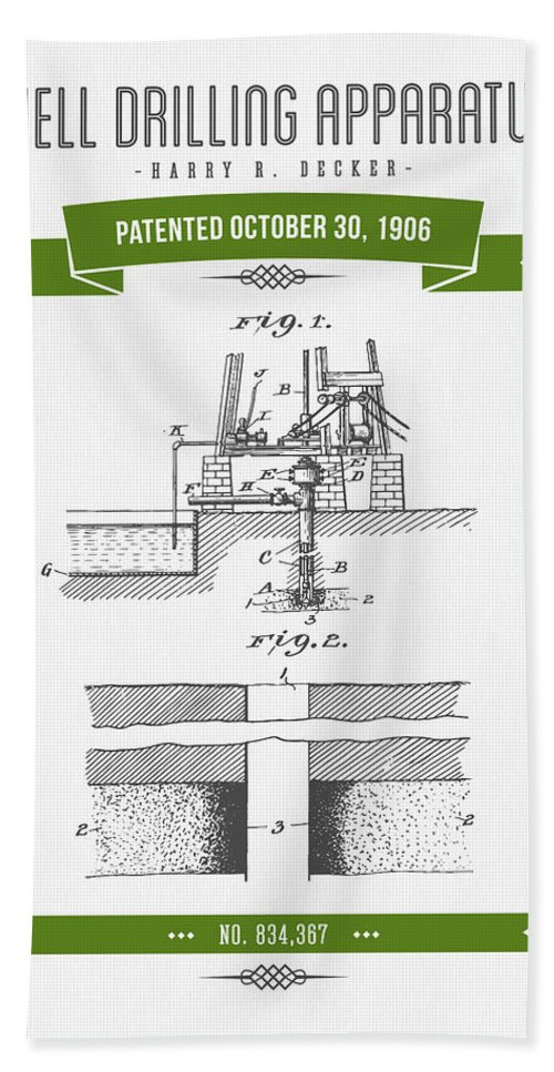 Oil Bath Sheet featuring the digital art 1906 Well Drilling Apparatus Patent Drawing - Retro Green by Aged Pixel