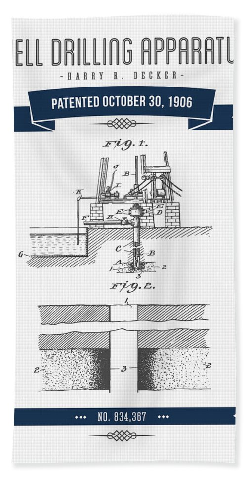 Oil Hand Towel featuring the digital art 1906 Well Drilling Apparatus Patent Drawing - Retro Navy Blue by Aged Pixel
