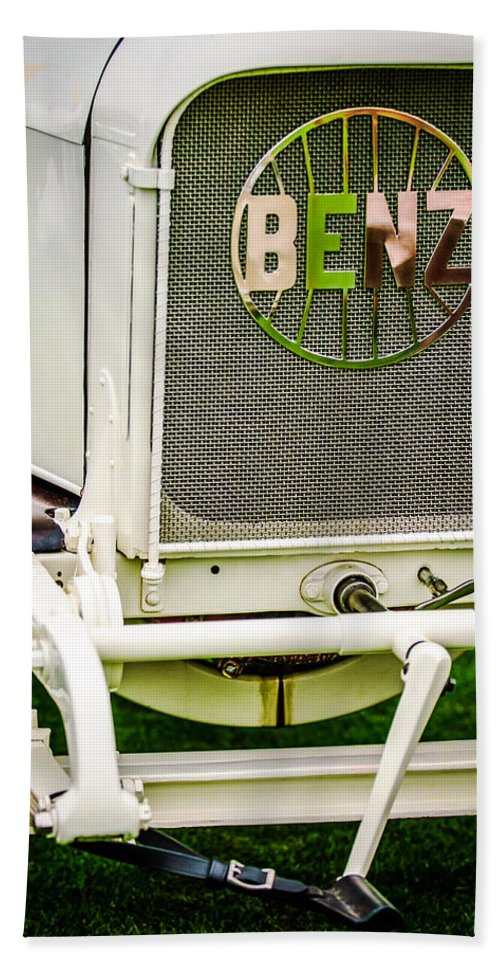 1908 Benz Prince Heinrich Two Seat Race Car Grille Emblem Bath Sheet featuring the photograph 1908 Benz Prince Heinrich Two Seat Race Car Grille Emblem -1696c by Jill Reger