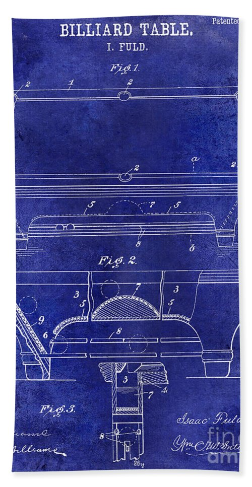 1909 Hand Towel featuring the photograph 1909 Billiard Table Patent Drawing Blue by Jon Neidert
