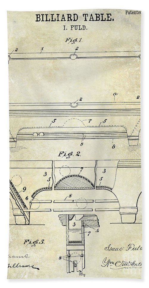 1909 Hand Towel featuring the photograph 1909 Billiard Table Patent Drawing by Jon Neidert