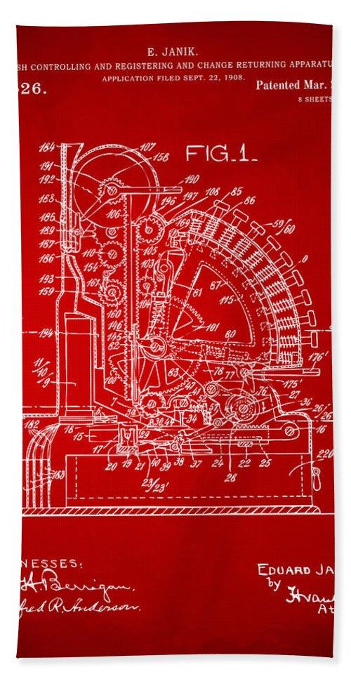 Cash Register Bath Sheet featuring the digital art 1910 Cash Register Patent Red by Nikki Marie Smith