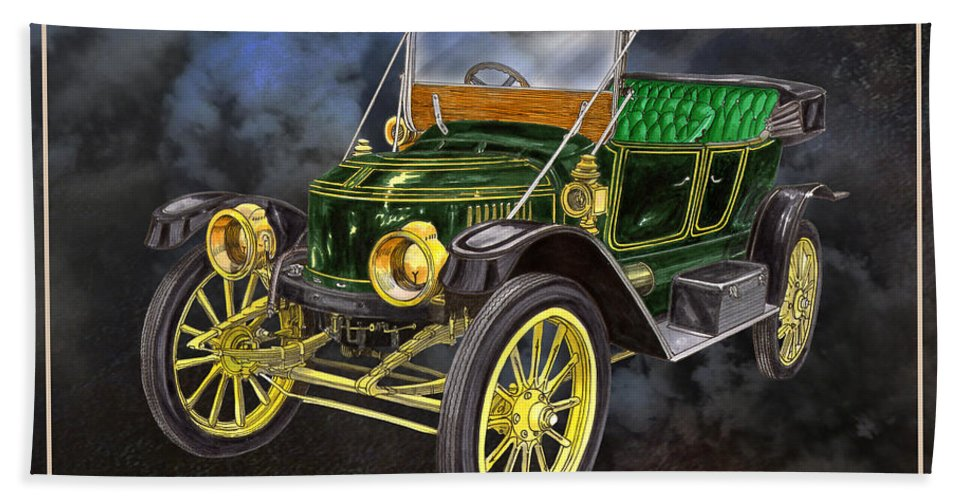 The 1912 Stanley Steamer Built By The The Stanley Motor Carriage Company Was An American Manufacturer Of Steam-engine Vehicles; It Operated From 1902 To 1924 Bath Sheet featuring the painting Stanley Steamer by Jack Pumphrey