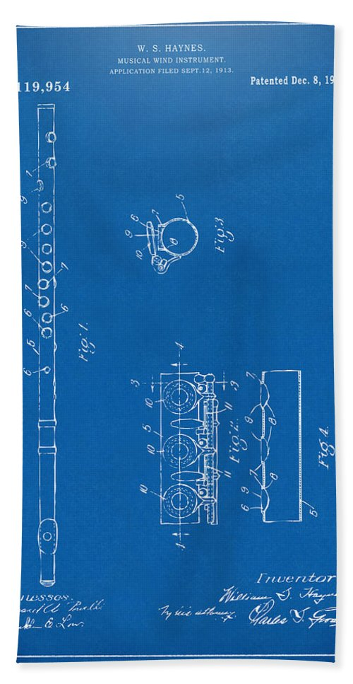 Flute Hand Towel featuring the digital art 1914 Flute Patent - Blueprint by Nikki Marie Smith