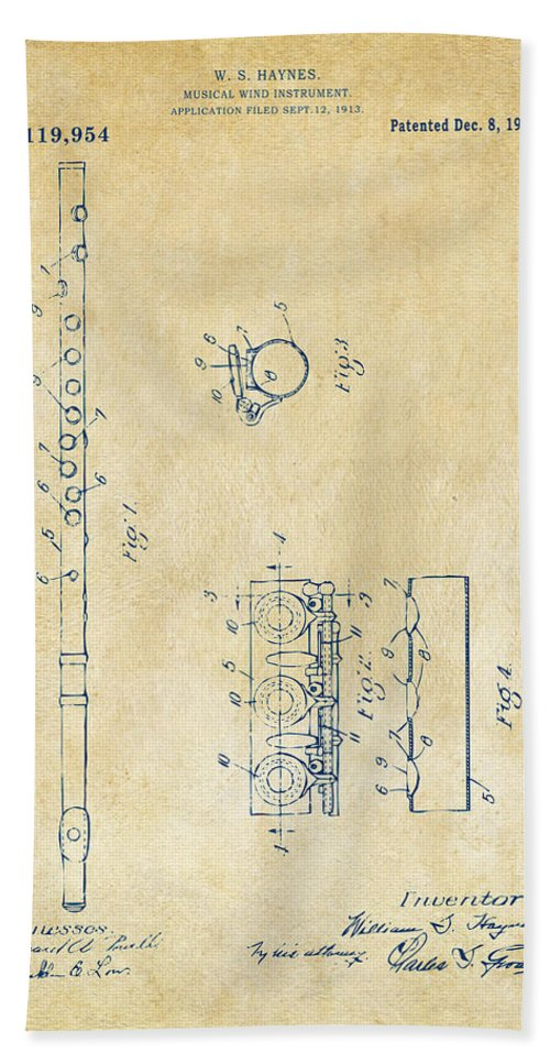 Flute Hand Towel featuring the digital art 1914 Flute Patent - Vintage by Nikki Marie Smith