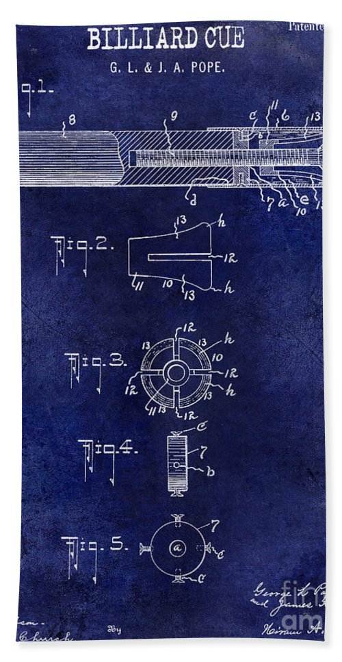 1915 Hand Towel featuring the photograph 1915 Billiard Cue Patent Drawing Blue by Jon Neidert