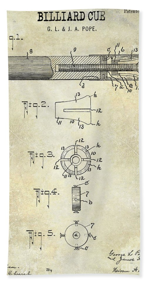 1915 Hand Towel featuring the photograph 1915 Billiard Cue Patent Drawing by Jon Neidert