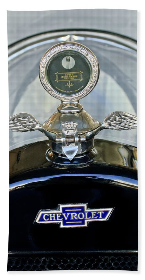 1915 Chevrolet 4 Door Touring Hand Towel featuring the photograph 1915 Chevrolet Touring Hood Ornament by Jill Reger