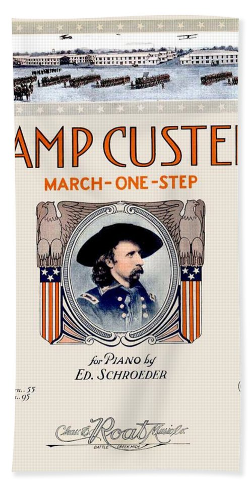 World War I Bath Sheet featuring the digital art 1917 - Camp Custer March One Step Sheet Music - Edward Schroeder - Color by John Madison