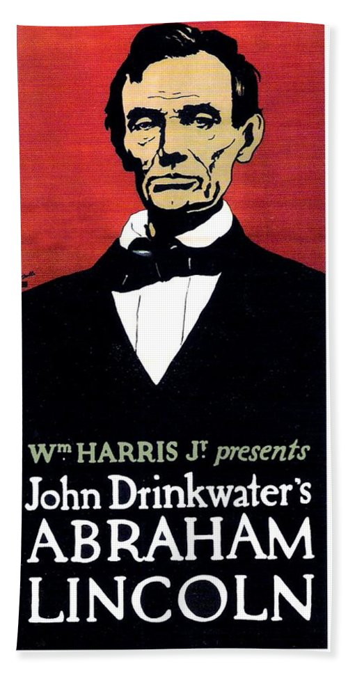 John Drinkwater Bath Sheet featuring the digital art 1919 - John Drinkwater's Play Abraham Lincoln Theatrical Poster - Color by John Madison