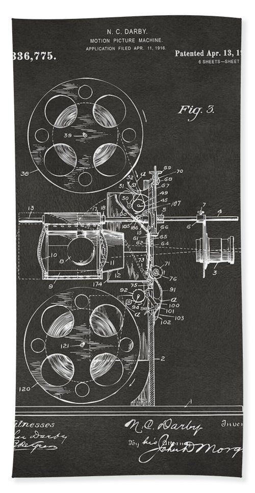 Movie Bath Sheet featuring the digital art 1920 Motion Picture Machine Patent Gray by Nikki Marie Smith
