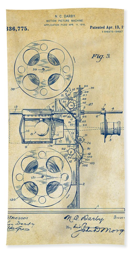 Movie Bath Sheet featuring the digital art 1920 Motion Picture Machine Patent Vintage by Nikki Marie Smith