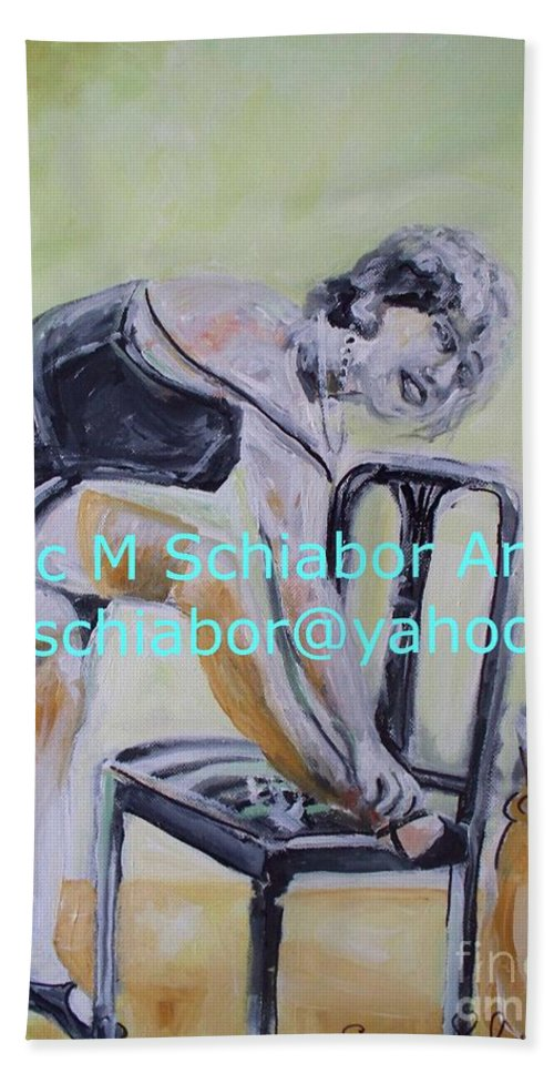 1920 Hand Towel featuring the painting 1920s Girl by Eric Schiabor