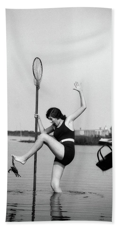 Photography Bath Towel featuring the photograph 1920s Woman Crabbing Surprised By Crab by Vintage Images