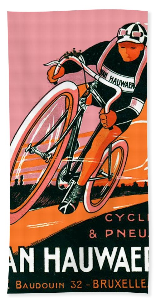 1921 Bath Sheet featuring the digital art 1921 - Van Hauwaert Bicycle Belgian Advertisement Poster - Color by John Madison