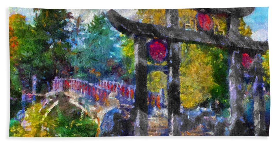 Autumn Bath Sheet featuring the photograph 1922 Japanese Bridge At Laura Bradley Park 02 by Thomas Woolworth