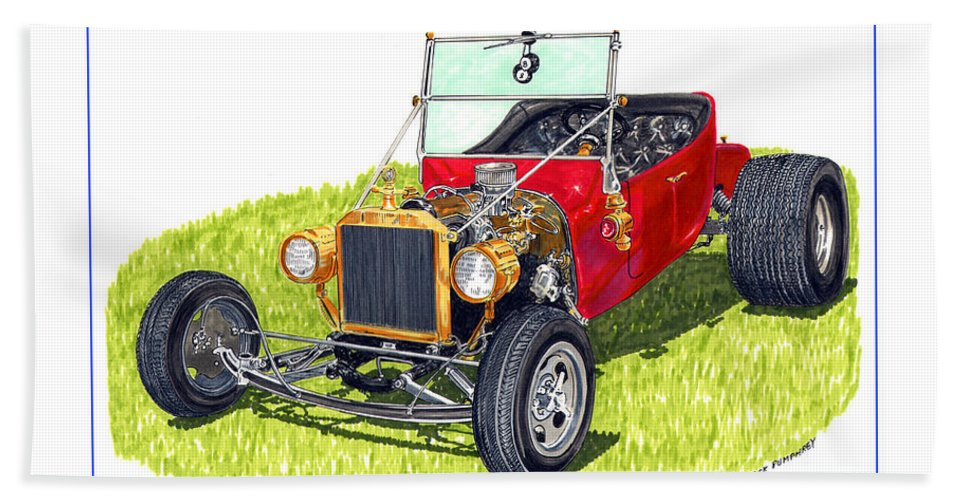 Framed Pen And Ink Images Of Classic Ford Cars. Pen And Ink Drawings Of Vintage Classic Cars. Black And White Drawings Of Cars From The 1920's Bath Sheet featuring the painting T Bucket Ford 1923 by Jack Pumphrey