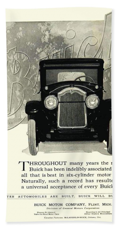 1924 Bath Sheet featuring the digital art 1924 - Buick Six Advertisement by John Madison