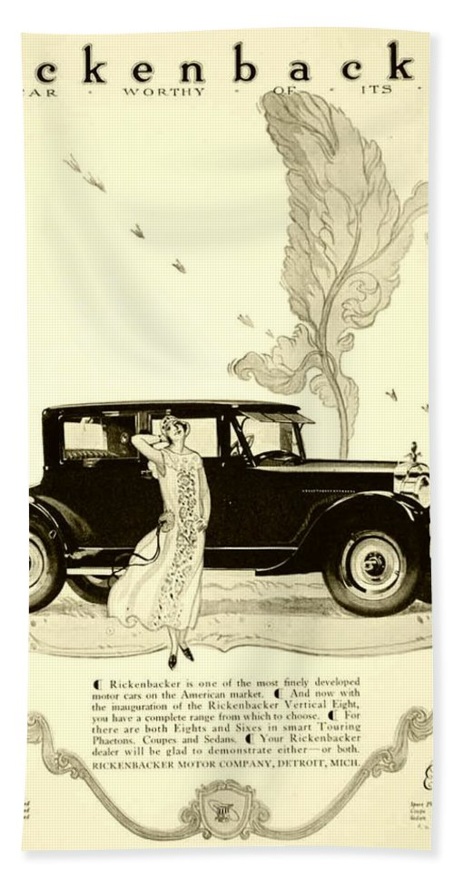 Bath Sheet featuring the digital art 1924 - Rickenbacker Automobile Advertisement by John Madison