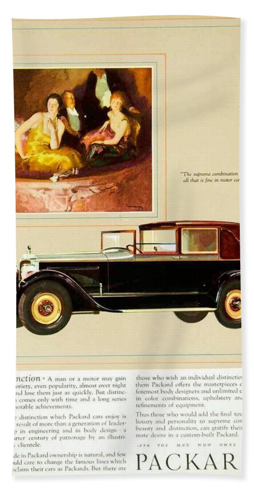 1926 Bath Sheet featuring the digital art 1926 - Packard Automobile Advertisement - Color by John Madison
