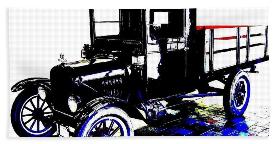 1926 Ford Model T Stakebed Bath Towel featuring the digital art 1926 Ford Model T Stakebed by Will Borden