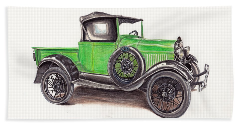 Truck Hand Towel featuring the drawing 1926 Ford Truck by Heather Stinnett