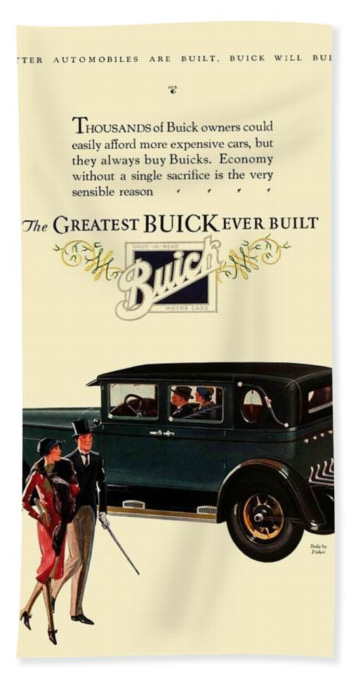 Buick Bath Sheet featuring the digital art 1927 - Buick Automobile - Color by John Madison