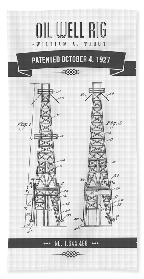 Oil Hand Towel featuring the digital art 1927 Oil Well Rig Patent Drawing - Retro Gray by Aged Pixel