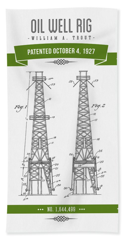 Oil Bath Sheet featuring the digital art 1927 Oil Well Rig Patent Drawing - Retro Green by Aged Pixel