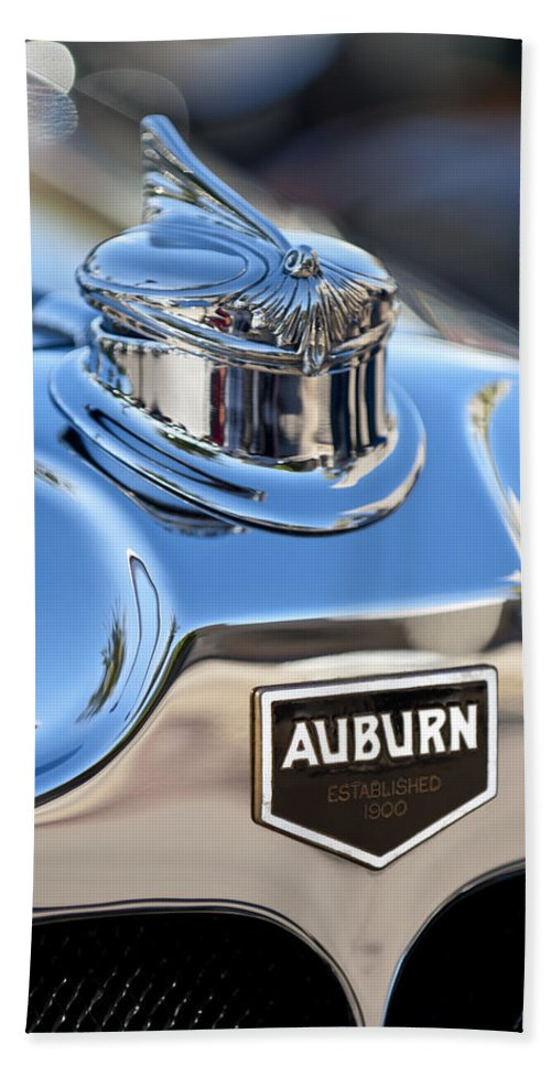 1929 Auburn 8-90 Speedster Hand Towel featuring the photograph 1929 Auburn 8-90 Speedster Hood Ornament by Jill Reger