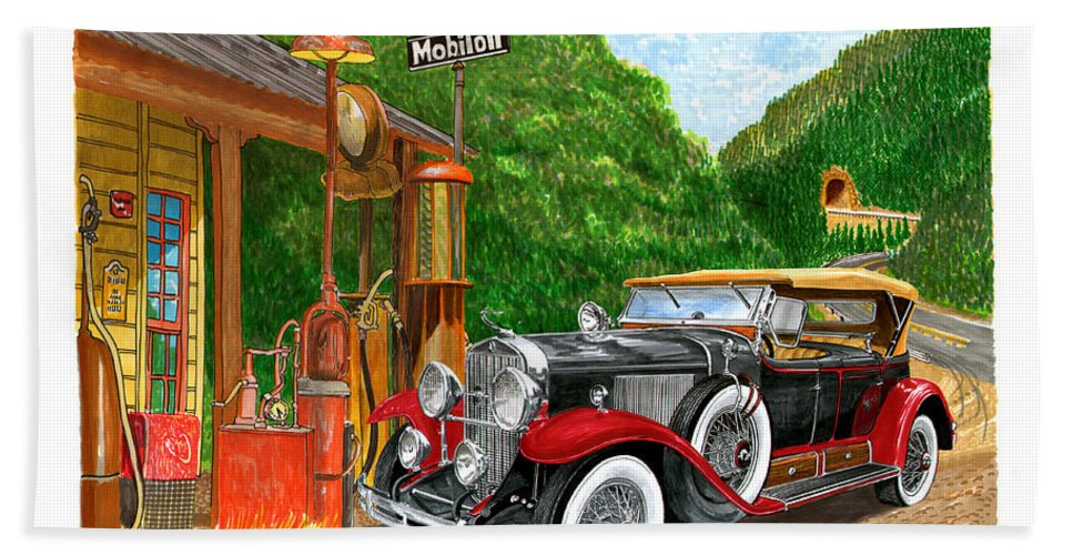 Classic Car Paintings Bath Sheet featuring the painting 1929 Cadillac Dual Cowl Phaeton And Pegasus by Jack Pumphrey