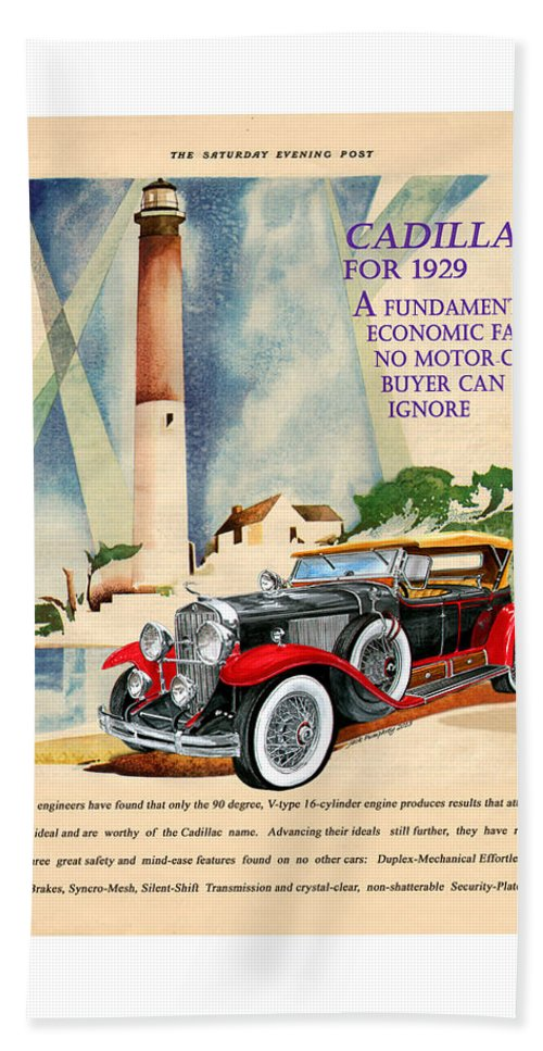 1929 Cadillac Vintage Magazine Ad Bath Towel for Sale by Jack Pumphrey