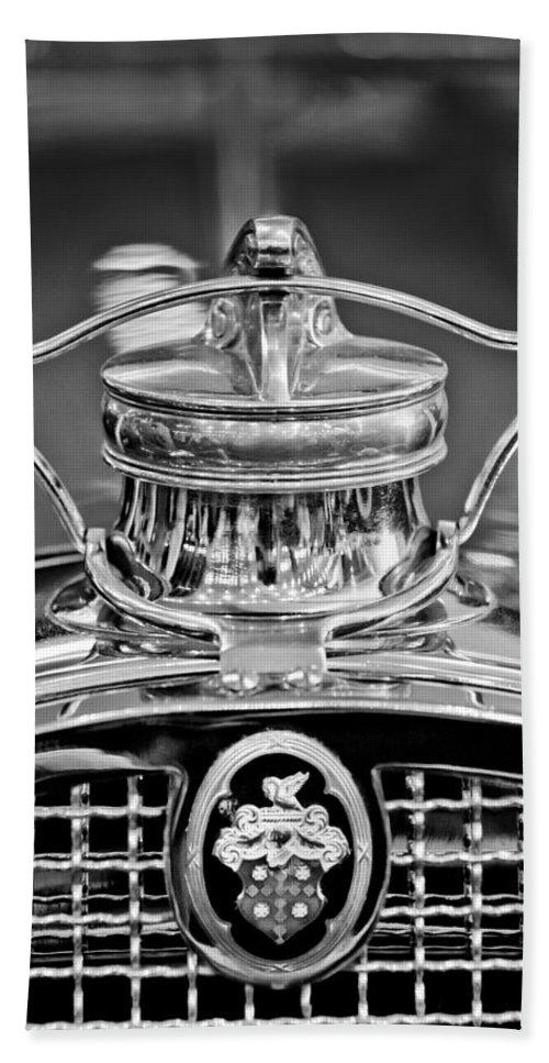 1929 Packard 8 Hand Towel featuring the photograph 1929 Packard 8 Hood Ornament 4 by Jill Reger