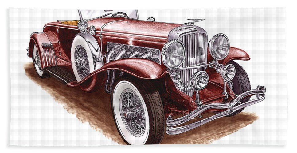 An Art Print Using Colored Pencils Of A 1930 Duesenberh Model J Roadster Coupe Bath Sheet featuring the mixed media 1930 Dusenberg Model J by Jack Pumphrey