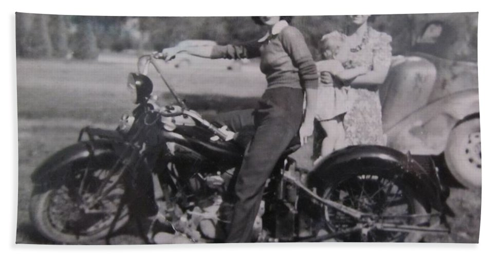 Triumph Motorcycles Bath Sheet featuring the photograph 1930's Indian Motorcycle Mama by Donna Wilson