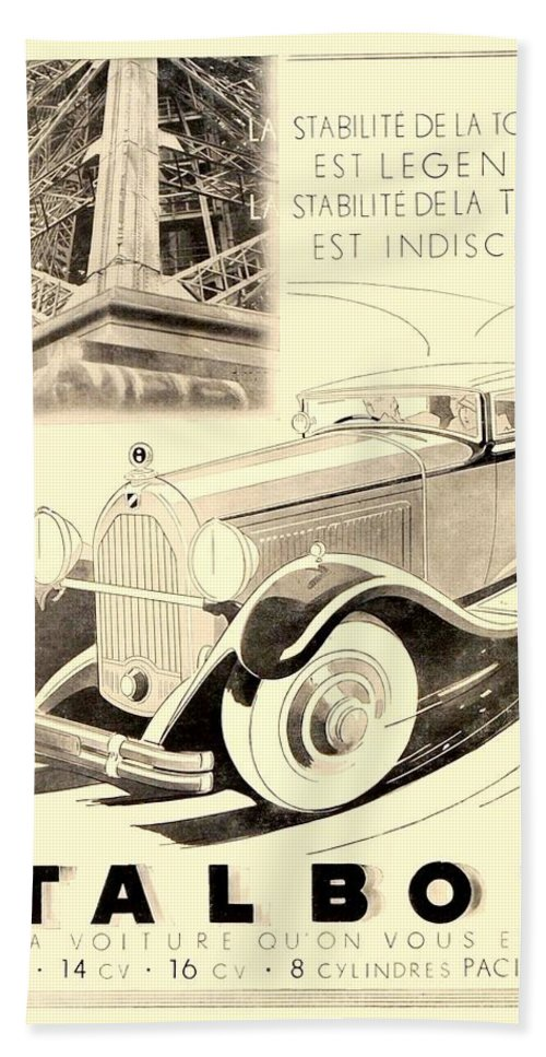 1935 Hand Towel featuring the digital art 1931 - Talbot French Automobile Advertisement by John Madison