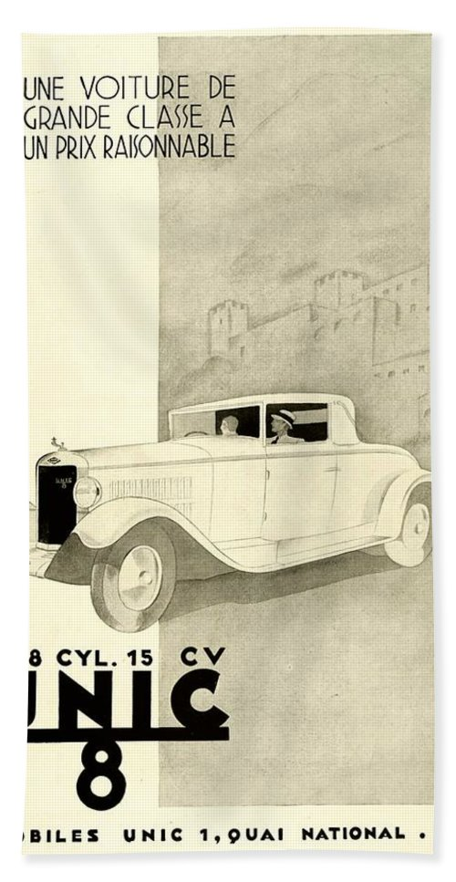 1935 Hand Towel featuring the digital art 1931 - Unic 8 French Automobile Advertisement by John Madison