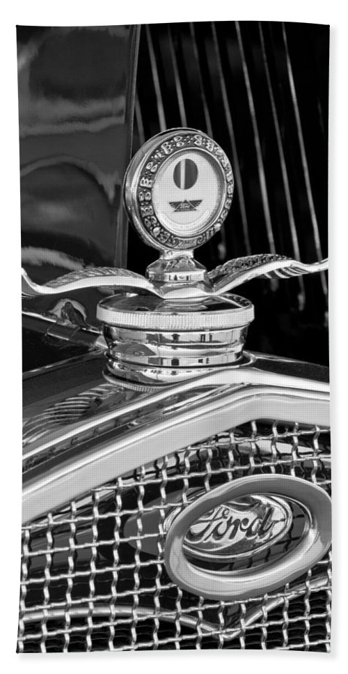 1931 Model A Ford Deluxe Roadster Hand Towel featuring the photograph 1931 Model A Ford Deluxe Roadster Hood Ornament 2 by Jill Reger