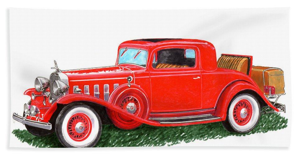 Classic Car Paintings Hand Towel featuring the painting 1932 Cadillac Rumbleseat Coupe by Jack Pumphrey
