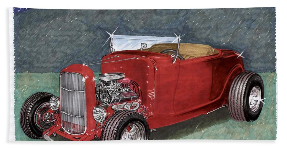 Classic Car Art Bath Sheet featuring the painting 1932 Ford High Boy by Jack Pumphrey