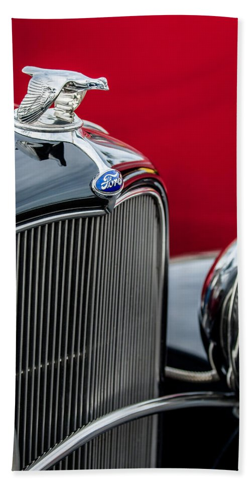 1932 Ford Hood Ornament Bath Sheet featuring the photograph 1932 Ford V8 Grille - Hood Ornament by Jill Reger