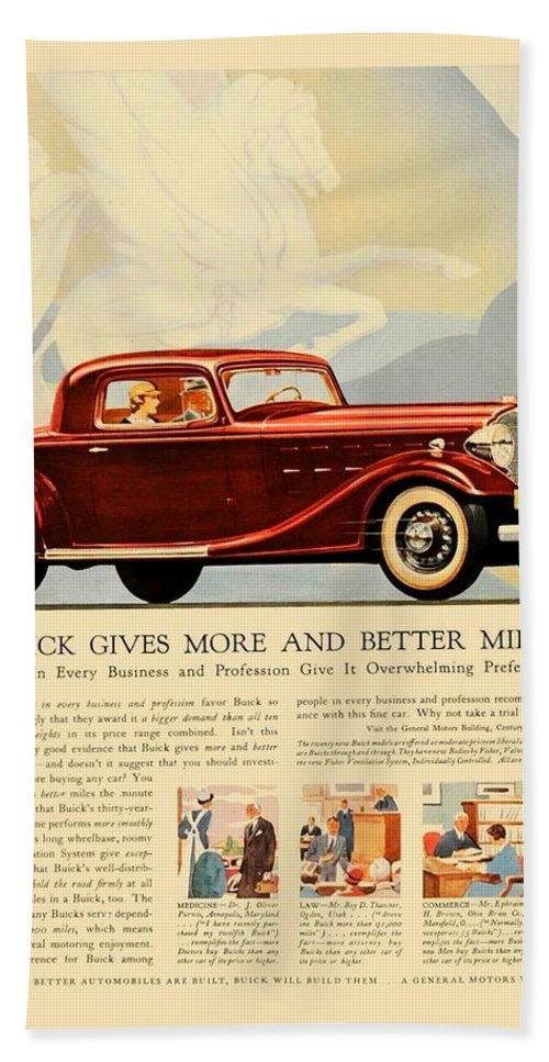 Buick Bath Sheet featuring the digital art 1933 - Buick Coupe Advertisement - Color by John Madison