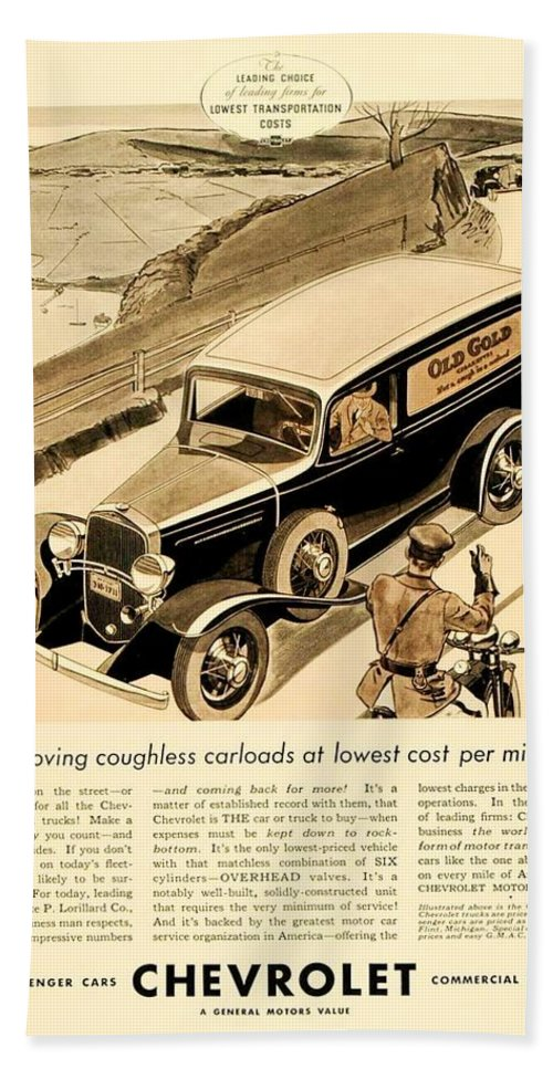 Car Bath Sheet featuring the digital art 1933 - Chevrolet Commercial Automobile Advertisement - Old Gold Cigarettes - Color by John Madison