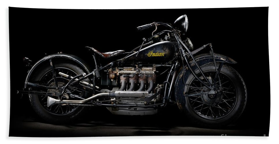 Motorcycle Bath Sheet featuring the photograph 1933 Indian Four by Frank Kletschkus