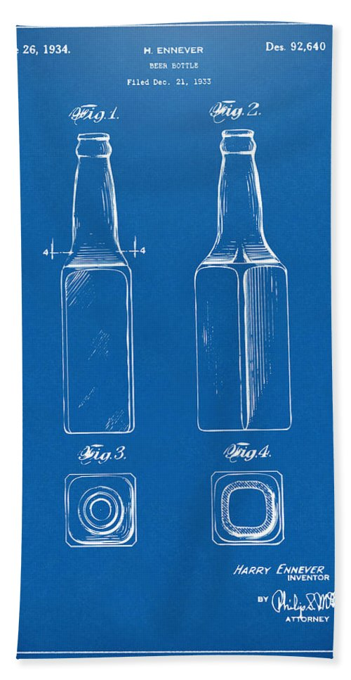 Beer Bottle Bath Sheet featuring the digital art 1934 Beer Bottle Patent Artwork - Blueprint by Nikki Marie Smith