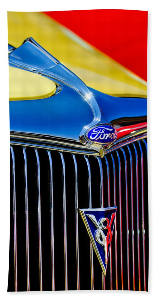 1934 Ford Deluxe Coupe Grille Emblems Bath Sheet featuring the photograph 1934 Ford Deluxe Coupe Grille Emblems by Jill Reger