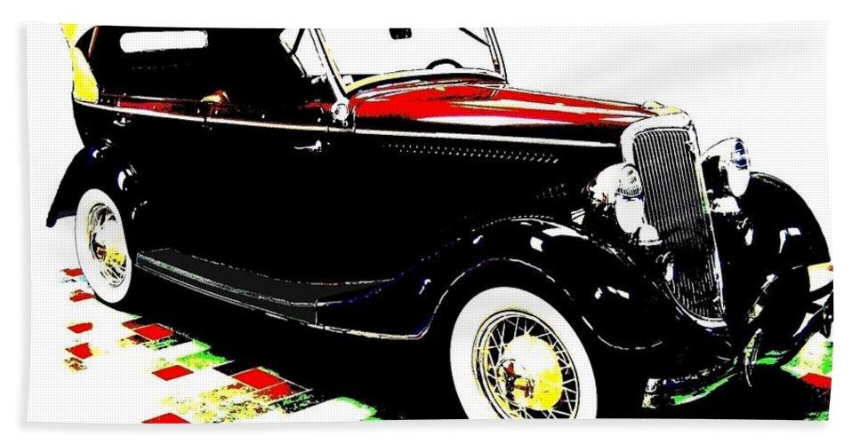 1934 Ford Phaeton V8 Hand Towel featuring the digital art 1934 Ford Phaeton V8 by Will Borden