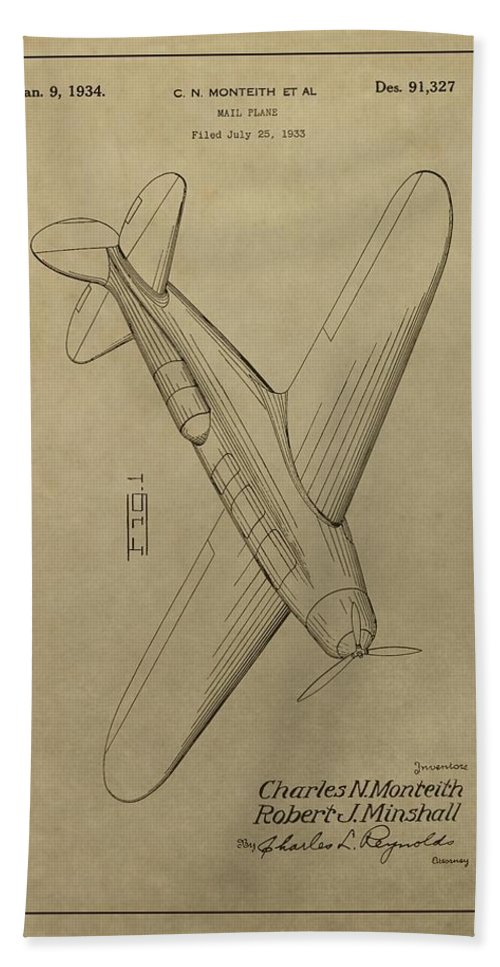 1934 Mail Plane Patent Bath Sheet featuring the mixed media 1934 Mail Plane Patent by Dan Sproul